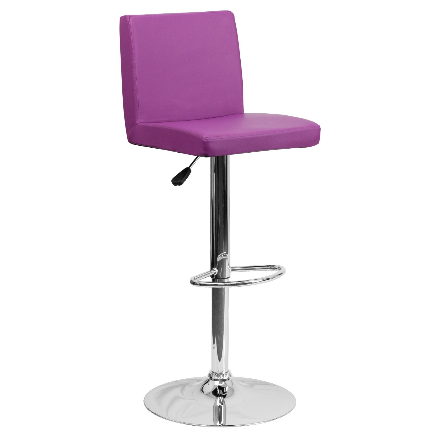 Flash Furniture CH-92066-PUR-GG Contemporary Purple Vinyl Adjustable Height Bar Stool