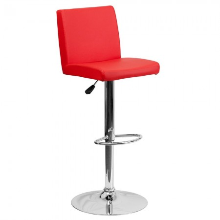 Flash Furniture CH-92066-RED-GG Contemporary Red Vinyl Adjustable Height Bar Stool