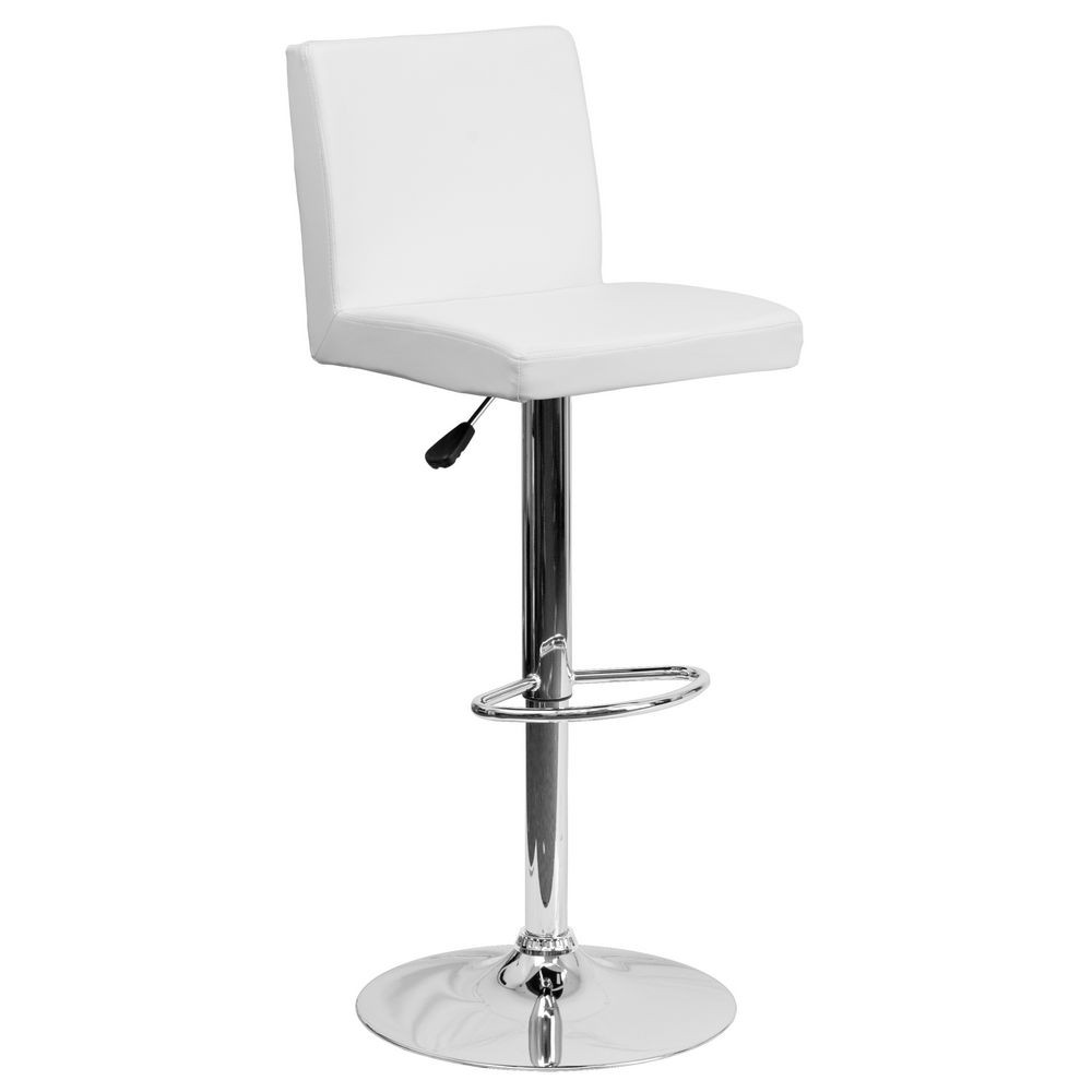 Flash Furniture CH-92066-WH-GG Contemporary White Vinyl Adjustable Height Bar Stool