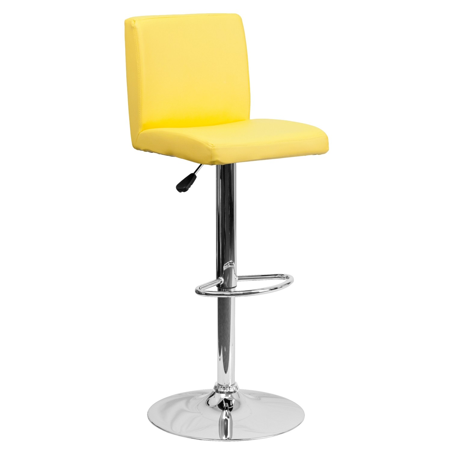 Flash Furniture CH-92066-YEL-GG Contemporary Yellow Vinyl Adjustable Height Bar Stool