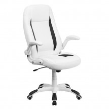 Flash Furniture CH-CX0176H06-WH-GG High Back White Leather Executive Office Chair with Flip-Up Arms