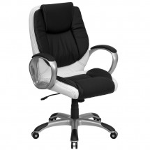Flash Furniture CH-CX0217M-GG Mid-Back Black and White Leather Executive Swivel Office Chair