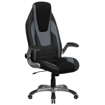 Flash Furniture CH-CX0326H02-GG High Back Black & Gray Vinyl Executive Office Chair with Black Mesh Insets and Flip Up Arms