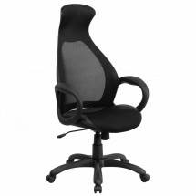 Flash Furniture CH-CX0528H01-BK-LEA-GG Black High Back Executive Mesh Chair with Leather Inset Seat