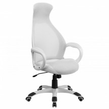 Flash Furniture CH-CX0528H01-WH-LEA-GG White High Back Executive Mesh Chair with Leather Inset Seat