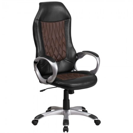 Flash Furniture CH-CX0906H-BN-GG High Back Brown Fabric and Black Vinyl Executive Swivel Chair with Arms