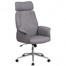 Flash Furniture CH-CX0944H-GY-GG High Back Gray Fabric Executive Swivel Chair with Chrome Base and Upholstered Arms
