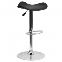 Flash Furniture CH-TC3-1002-BK-GG Contemporary Black Vinyl Adjustable Height Bar Stool