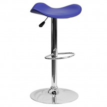 Flash Furniture CH-TC3-1002-BL-GG Contemporary Blue Vinyl Adjustable Height Bar Stool