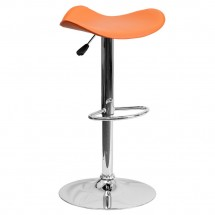 Flash Furniture CH-TC3-1002-ORG-GG Contemporary Orange Vinyl Adjustable Height Bar Stool