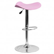 Flash Furniture CH-TC3-1002-PK-GG Contemporary Pink Vinyl Adjustable Height Bar Stool