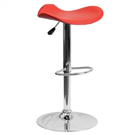 Flash Furniture CH-TC3-1002-RED-GG Contemporary Red Vinyl Adjustable Height Bar Stool