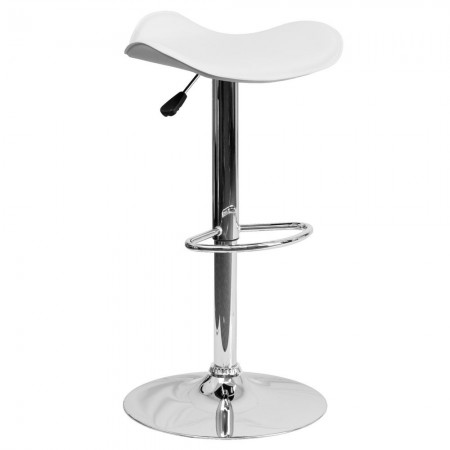Flash Furniture CH-TC3-1002-WH-GG Contemporary White Vinyl Adjustable Height Bar Stool