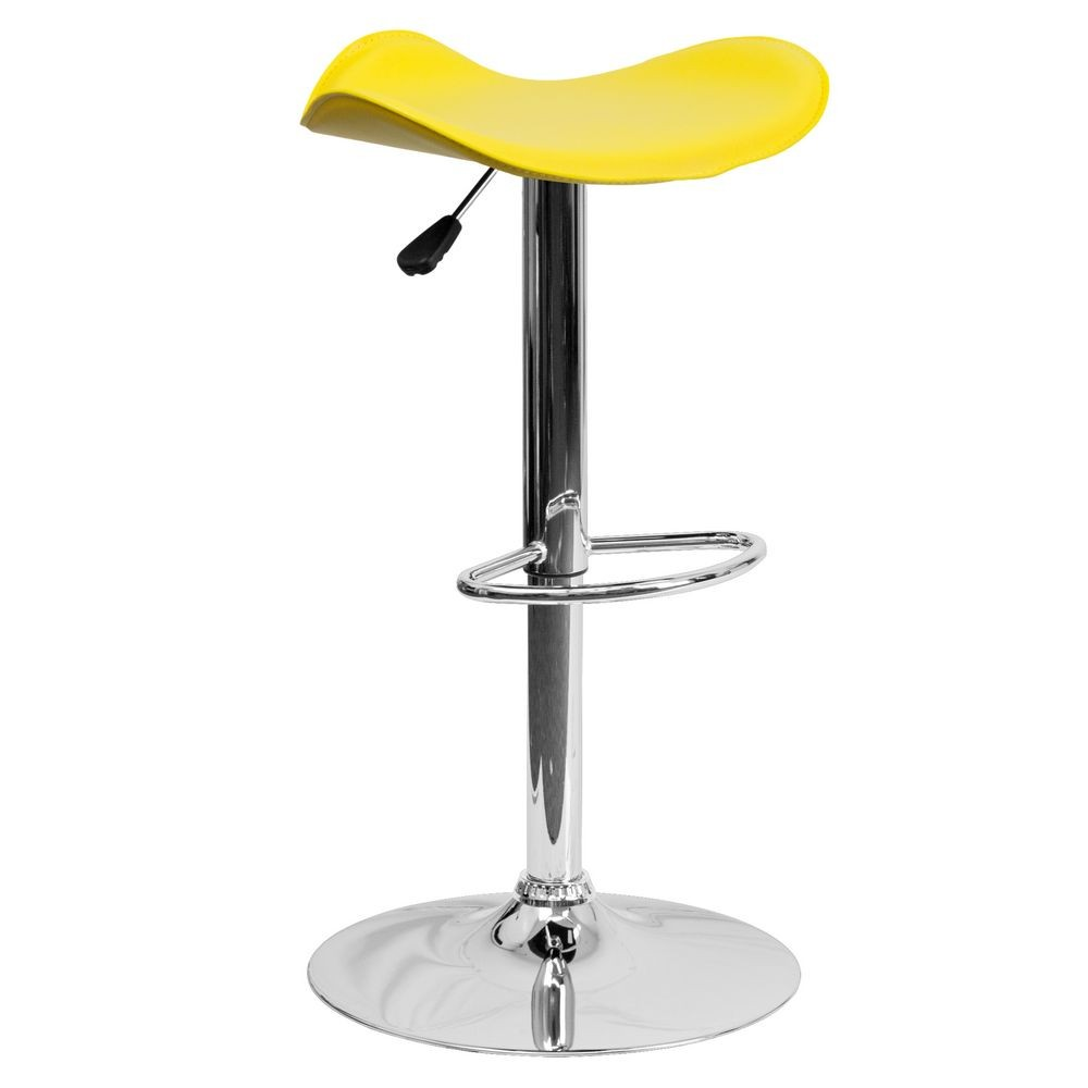 Flash Furniture CH-TC3-1002-YEL-GG Contemporary Yellow Vinyl Adjustable Height Bar Stool