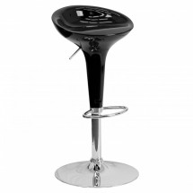 Flash Furniture CH-TC3-103-BK-GG Contemporary Black Plastic Adjustable Height Bar Stool
