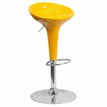 Flash Furniture CH-TC3-103-YEL-GG Contemporary Yellow Plastic Adjustable Height Bar Stool