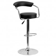 Flash Furniture CH-TC3-1060-BK-GG Contemporary Black Vinyl Adjustable Height Bar Stool with Arms