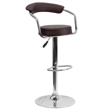 Flash Furniture CH-TC3-1060-BRN-GG Contemporary Brown Vinyl Adjustable Height Bar Stool with Arms