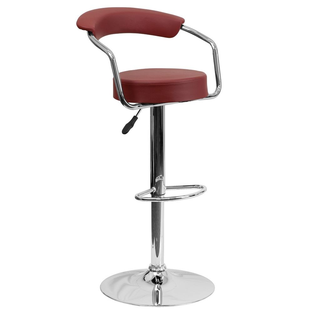 Flash Furniture CH-TC3-1060-BURG-GG Contemporary Burgundy Vinyl Adjustable Height Bar Stool with Arms