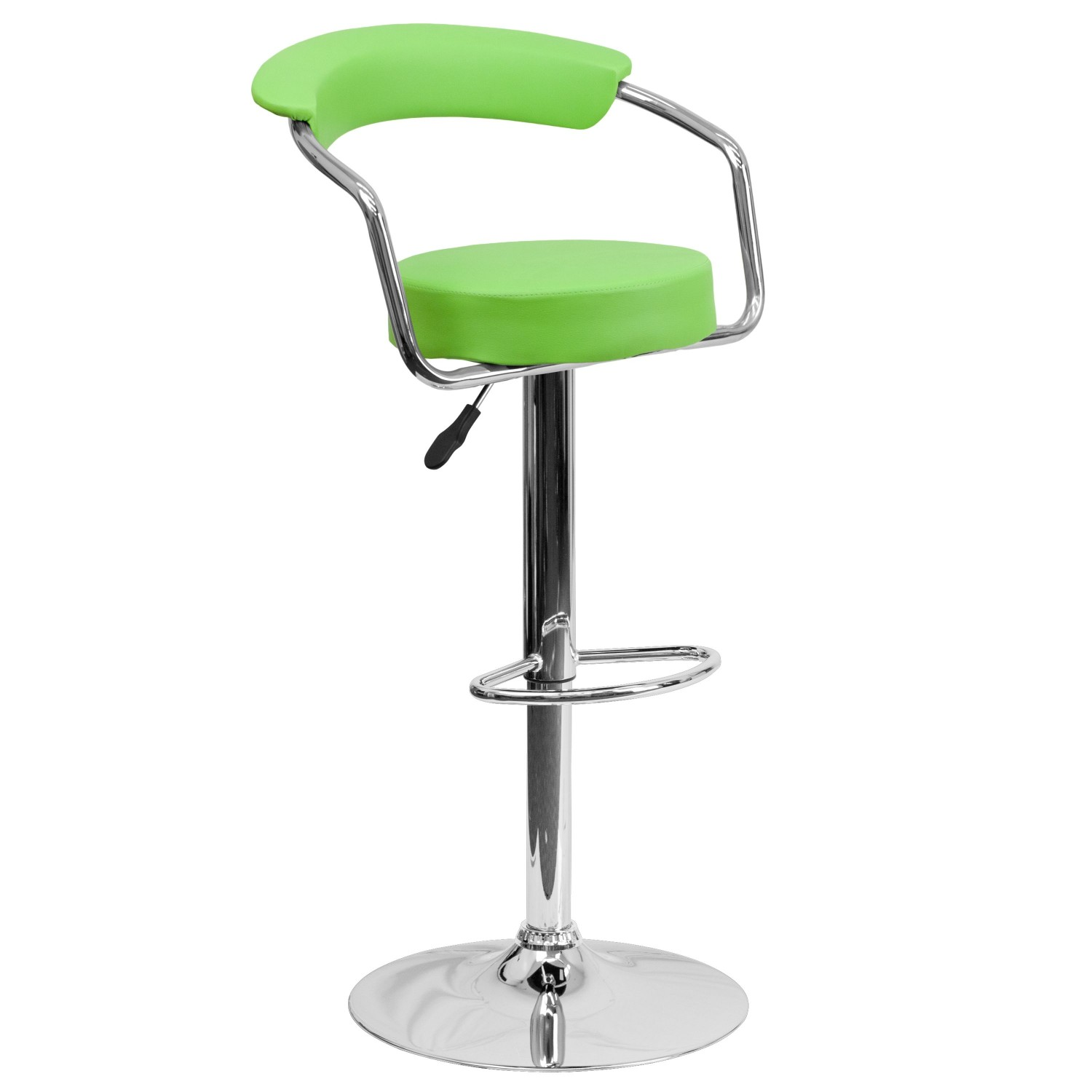 Flash Furniture CH-TC3-1060-GRN-GG Contemporary Green Vinyl Adjustable Height Bar Stool with Arms