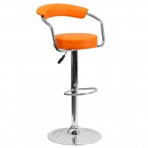Flash Furniture CH-TC3-1060-ORG-GG Contemporary Orange Vinyl Adjustable Height Bar Stool with Arms