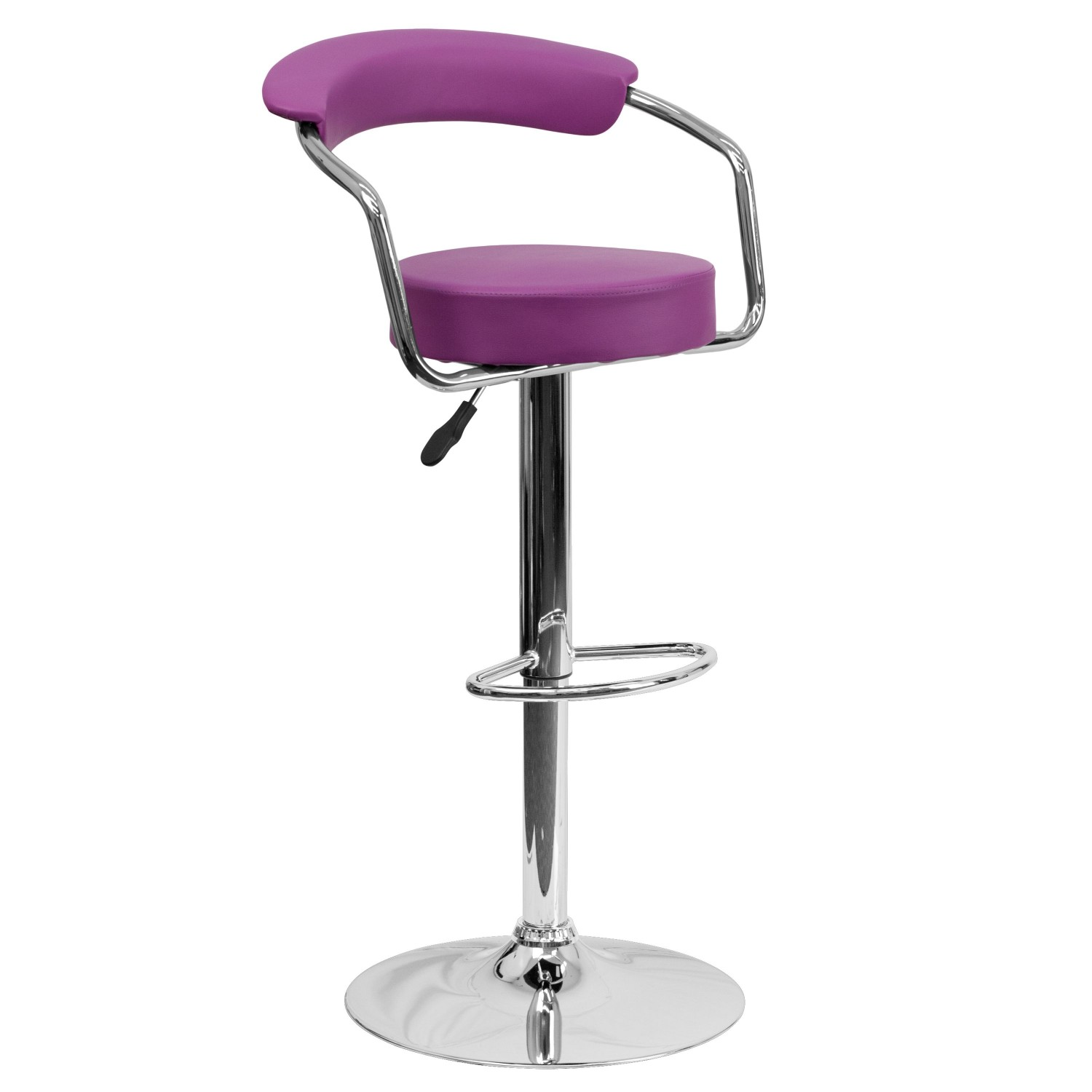 Flash Furniture CH-TC3-1060-PUR-GG Contemporary Purple Vinyl Adjustable Height Bar Stool with Arms