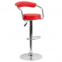 Flash Furniture CH-TC3-1060-RED-GG Contemporary Red Vinyl Adjustable Height Bar Stool with Arms
