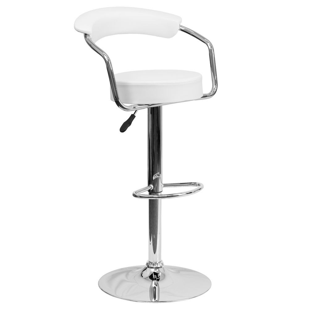 Flash Furniture CH-TC3-1060-WH-GG Contemporary White Vinyl Adjustable Height Bar Stool with Arms