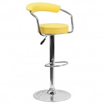 Flash Furniture CH-TC3-1060-YEL-GG Contemporary Yellow Vinyl Adjustable Height Bar Stool with Arms