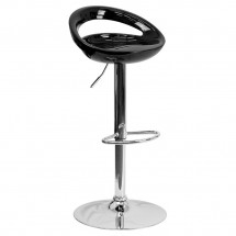 Flash Furniture CH-TC3-1062-BK-GG Contemporary Black Plastic Adjustable Height Bar Stool