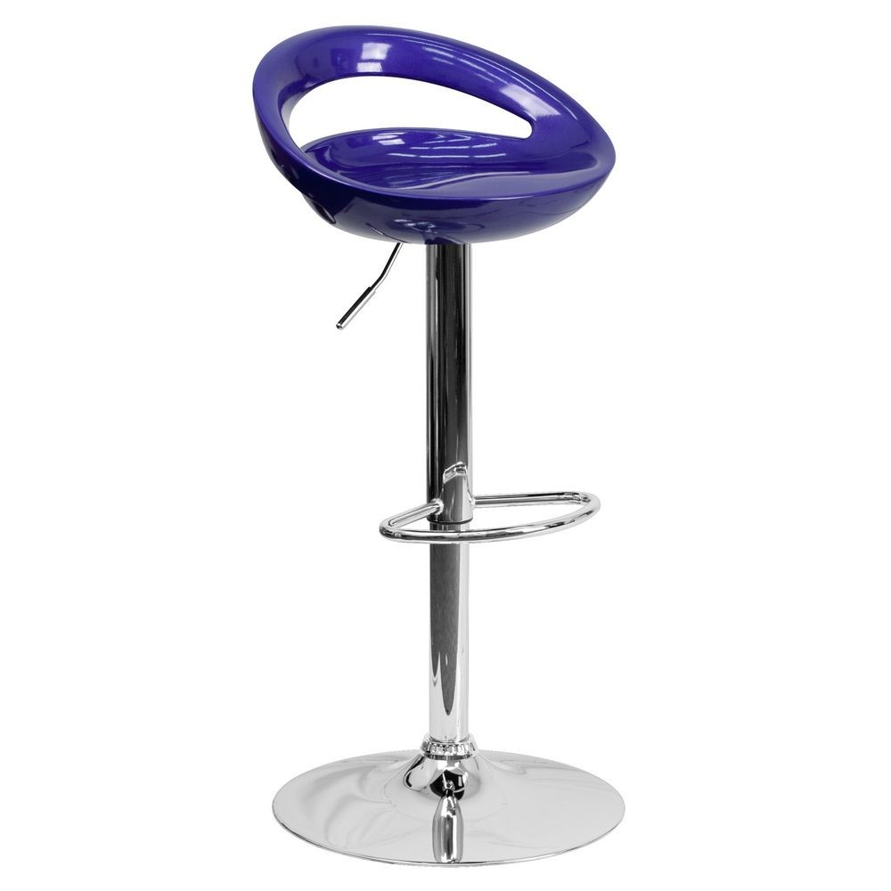 Flash Furniture CH-TC3-1062-BL-GG Contemporary Blue Plastic Adjustable Height Bar Stool
