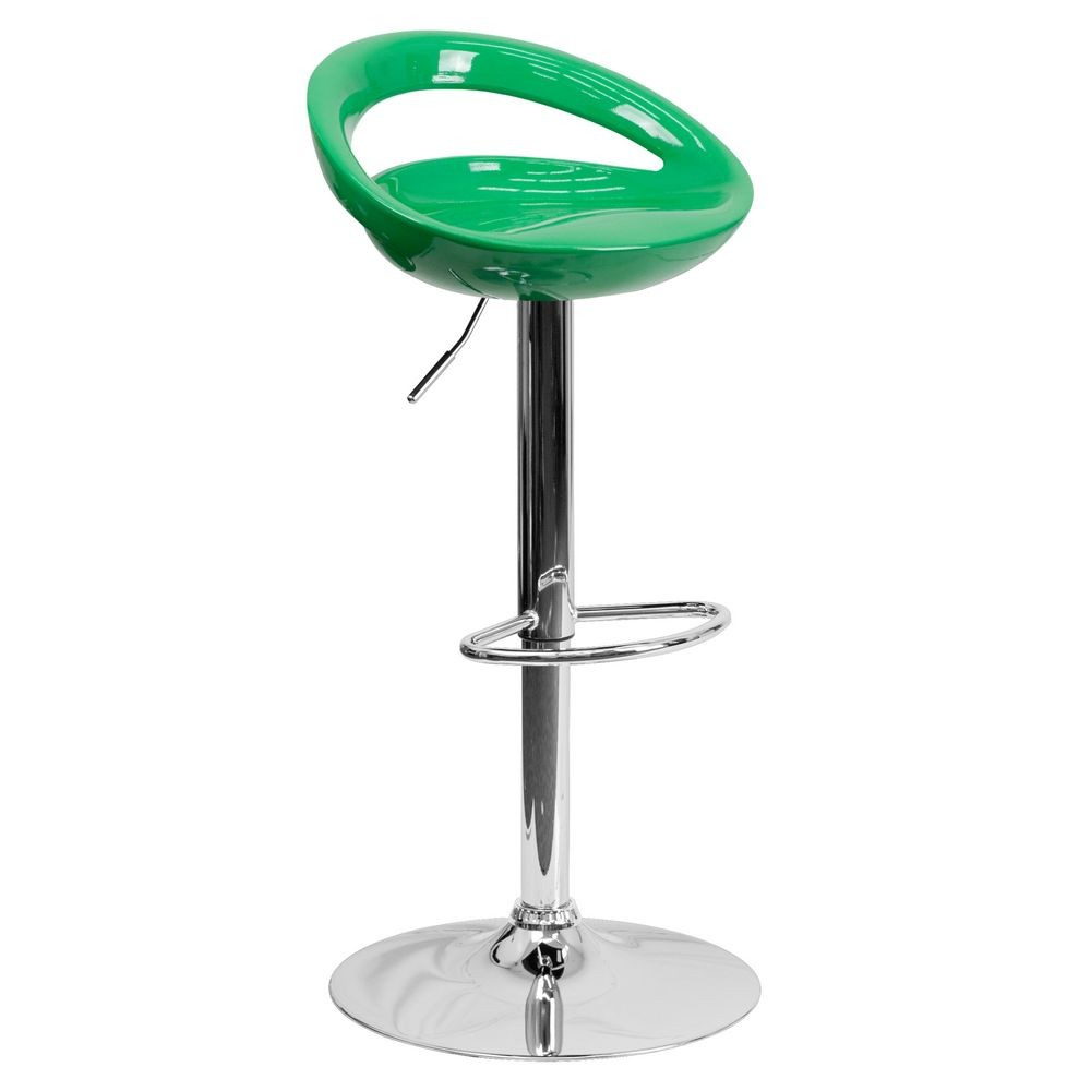 Flash Furniture CH-TC3-1062-GN-GG Contemporary Green Plastic Adjustable Height Bar Stool