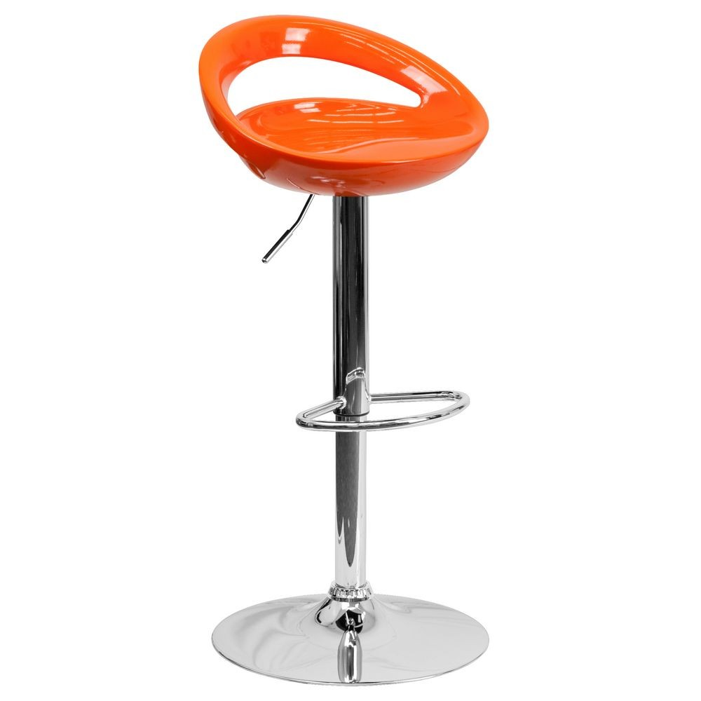 Flash Furniture CH-TC3-1062-ORG-GG Contemporary Orange Plastic Adjustable Height Bar Stool