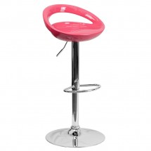 Flash Furniture CH-TC3-1062-PK-GG Contemporary Pink Plastic Adjustable Height Bar Stool