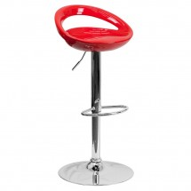 Flash Furniture CH-TC3-1062-RED-GG Contemporary Red Plastic Adjustable Height Bar Stool