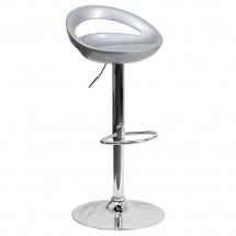 Flash Furniture CH-TC3-1062-SIL-GG Contemporary Silver Plastic Adjustable Height Bar Stool