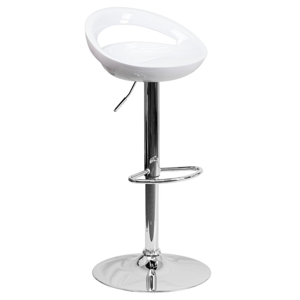 Flash Furniture CH-TC3-1062-WH-GG Contemporary White Plastic Adjustable Height Bar Stool