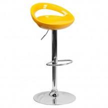 Flash Furniture CH-TC3-1062-YEL-GG Contemporary Yellow Plastic Adjustable Height Bar Stool