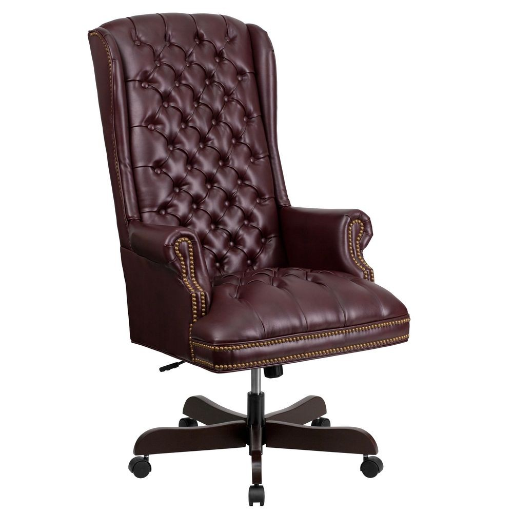 burgundy high back traditional tufted leather executive office chair