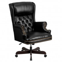 Flash Furniture CI-J600-BK-GG Black High Back Traditional Tufted Leather Executive Office Chair with Oversized Rolled Headrest