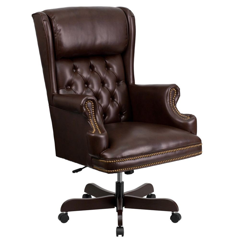 Flash Furniture CI-J600-BRN-GG High Back Traditional Tufted Brown Leather Executive Office Chair with Oversized Rolled Headrest