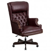 Flash Furniture CI-J600-BY-GG High Back Traditional Tufted Burgundy Leather Executive Office Chair with Oversized Rolled Headrest
