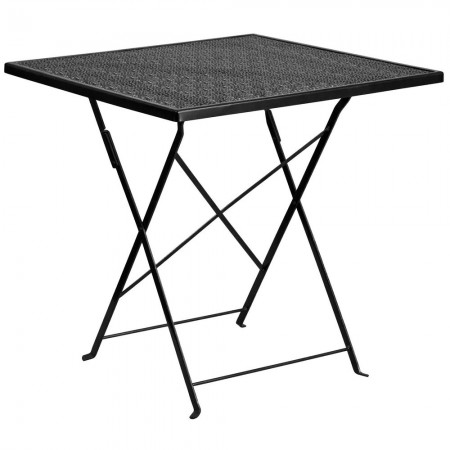 "Flash Furniture CO-1-BK-GG 28"" Square Black Indoor-Outdoor Steel Folding Patio Table"