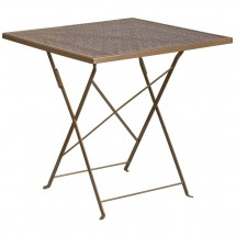 """Flash Furniture CO-1-GD-GG 28"""" Square Gold Indoor-Outdoor Steel Folding Patio Table"""