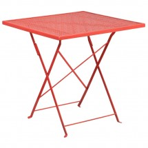 """Flash Furniture CO-1-RED-GG 28"""" Square Red Indoor-Outdoor Steel Folding Patio Table"""
