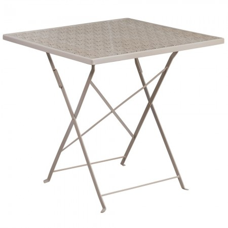 """Flash Furniture CO-1-SIL-GG 28"""" Square Silver Indoor-Outdoor Steel Folding Patio Table"""