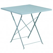 """Flash Furniture CO-1-SKY-GG 28"""" Square Sky Blue Indoor-Outdoor Steel Folding Patio Table"""