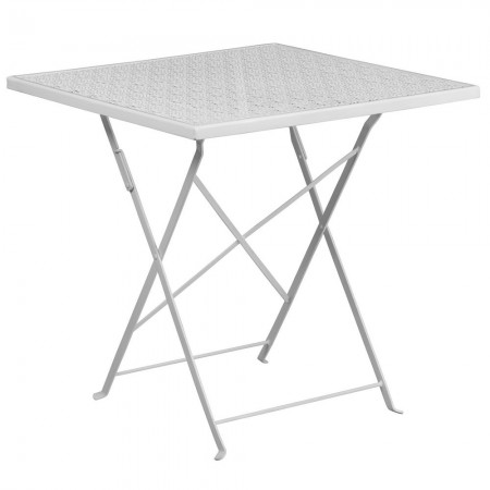 """Flash Furniture CO-1-WH-GG 28"""" Square White Indoor-Outdoor Steel Folding Patio Table"""