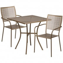"""Flash Furniture CO-28SQ-02CHR2-GD-GG 28"""" Square Gold Indoor-Outdoor Steel Patio Table Set with 2 Square Back Chairs"""