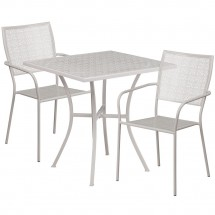 """Flash Furniture CO-28SQ-02CHR2-SIL-GG 28"""" Square Silver Indoor-Outdoor Steel Patio Table Set with 2 Square Back Chairs"""
